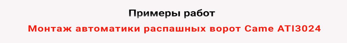 Монтаж автоматики распашных ворот Came ATI 3024